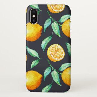 Coque iPhone X Noir vert de feuille de citrons jaune-orange