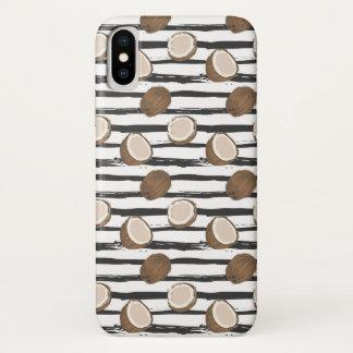 Coque iPhone X Noix de coco sur le motif grunge de rayures