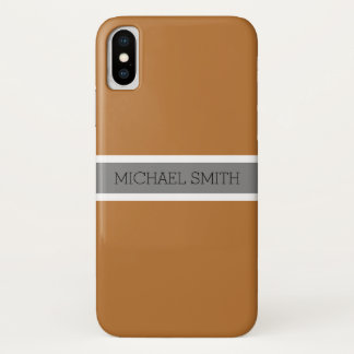 Coque iPhone X Nom élégant de ruban gris moderne de cuivre solide