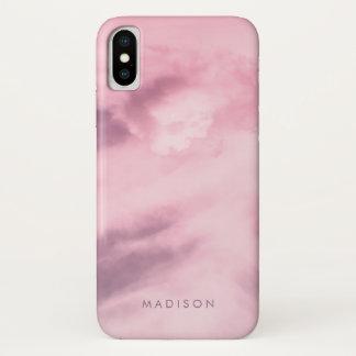 Coque iPhone X Nom rose de monogramme de motif de marbre de