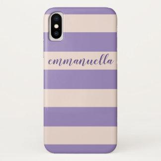 Coque iPhone X Nom ultra-violet élégant de rayures de rose en
