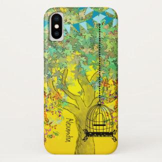 Coque iPhone X Notes musicales d'arbre de couleur lumineuse
