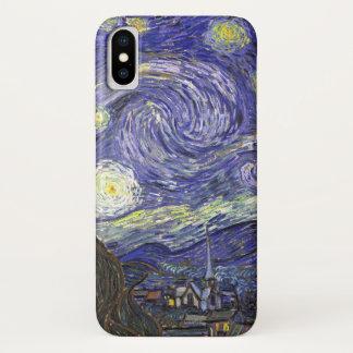Coque iPhone X Nuit étoilée de Van Gogh, paysage vintage de