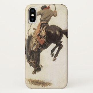 Coque iPhone X Occidental vintage, cowboy sur un cheval