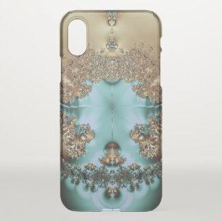 Coque iPhone X Or et Aqua royaux élégants