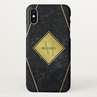 Coque iPhone X Or masculin de granit de noir de monogramme