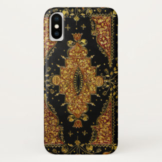 Coque iPhone X Or noir de Falln floral