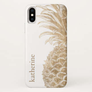 Coque iPhone X Or Pinneapple tropical