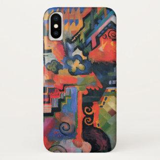 Coque iPhone X Orphism vintage, composition colorée, August Macke