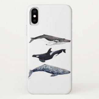 Coque iPhone X Orque, baleine bossue et baleine gris