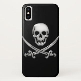 Coque iPhone X Os croisés vitreux de crâne et d'épée de pirate
