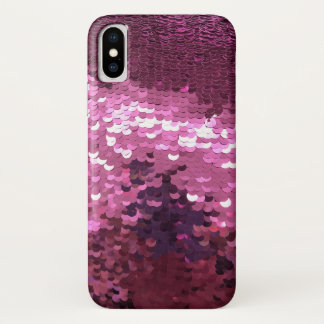 Coque iPhone X Paillette rose