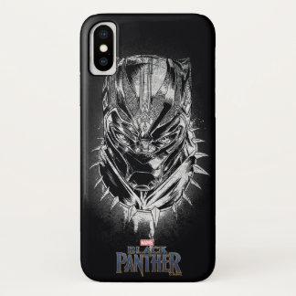 Coque iPhone X Panthère noire croquis principal noir et blanc de