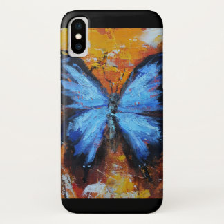 Coque iPhone X Papillon bleu