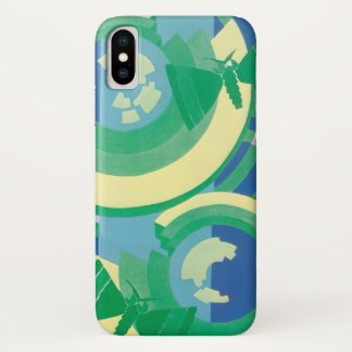 Coque iPhone X Papillons vintages de jardin de Pochoir de jazz