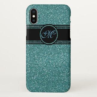 Coque iPhone X Parties scintillantes de noir d'Aqua avec le