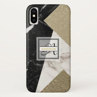 Coque iPhone X Parties scintillantes grises noires de marbre d'or
