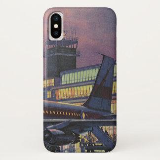 Coque iPhone X Passagers vintages d'affaires sur l'avion à