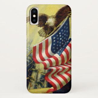 Coque iPhone X Patriotisme vintage, drapeau américain patriotique