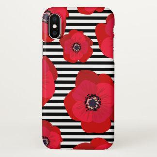 Coque iPhone X Pavots rouges et rayures noires