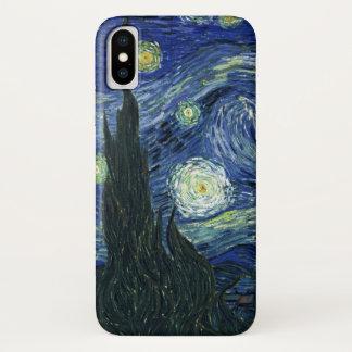 Coque iPhone X Peinture de beaux-arts de Vincent van Gogh de nuit