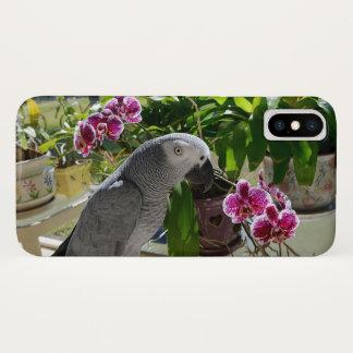 Coque iPhone X Perroquet de gris africain avec des orchidées