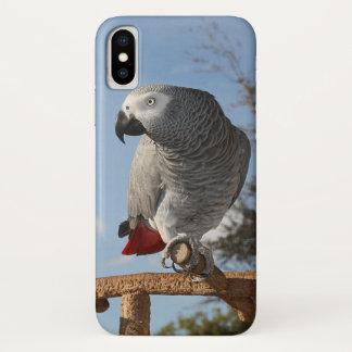 Coque iPhone X Perroquet renversant de gris africain