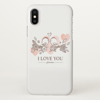 Coque iPhone X Perruches adorables dans le cas de l'iPhone X de
