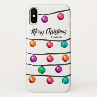 Coque iPhone X Personnalisé avec le nom, boules de Noël
