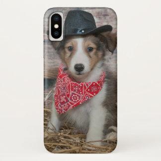 Coque iPhone X Petit chiot mignon de cowboy
