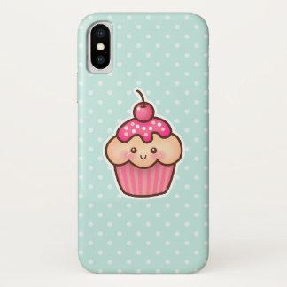 Coque iPhone X Petit gâteau rose de Kawaii et pois bleu en bon