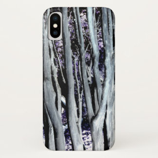 Coque iPhone X Photo artistique pourpre d'arbre gris violet de