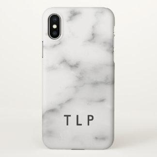 Coque iPhone X Pierre de marbre blanche élégante de monogramme