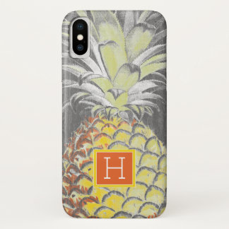 Coque iPhone X Pinneapple jaune tropical sur le gris