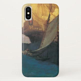 Coque iPhone X Pirate vintage, attaque sur un galion par Howard