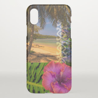 Coque iPhone X Plage d'Anini, collage de Hawaïen de Kauai