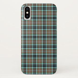 Coque iPhone X Plaid écossais de chasse de Thompson de clan brun