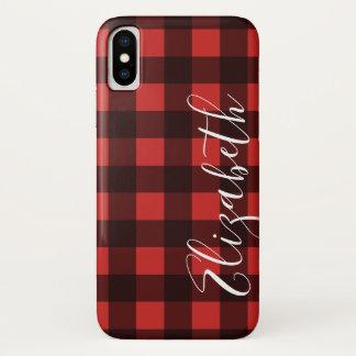 Coque iPhone X Plaid rustique de Buffalo rouge et noir - PEUT la