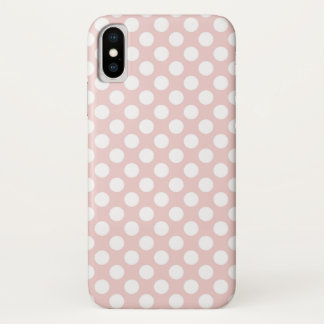 Coque iPhone X Pois blanc sur le rose
