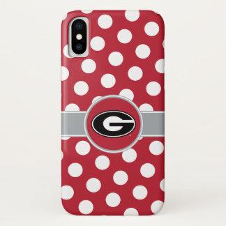 Coque iPhone X Pois du logo   de bouledogues de la Géorgie