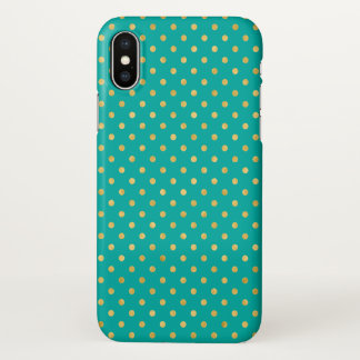 Coque iPhone X Pois élégant - menthe et Or