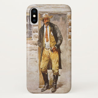 Coque iPhone X Portrait de shérif par Seltzer, cowboy occidental