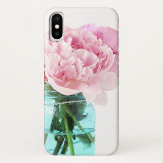 Coque iPhone X Pot de maçon bleu de pivoines roses