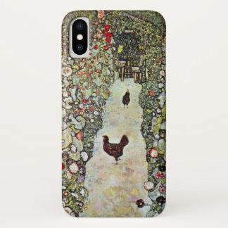 Coque iPhone X Poulets du chemin W de jardin, Gustav Klimt, art