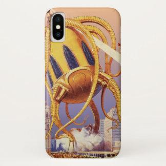Coque iPhone X Poulpe étranger vintage d'invasion de guerre de la