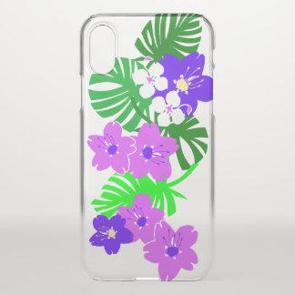 Coque iPhone X Pourpre hawaïen de planche de surf de jardin de
