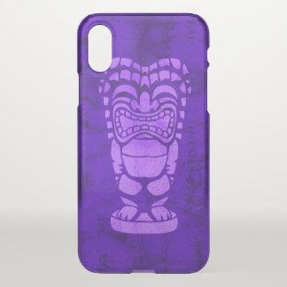 Coque iPhone X Pourpre riant hawaïen de batik de Tiki de plage de