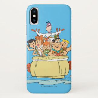 Coque iPhone X Promenade en voiture de famille de Flintstones
