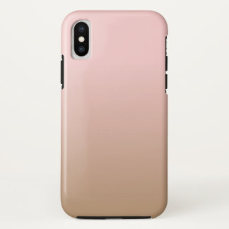 Coque iPhone X Quartz rose et café glacé Ombre Brown rose