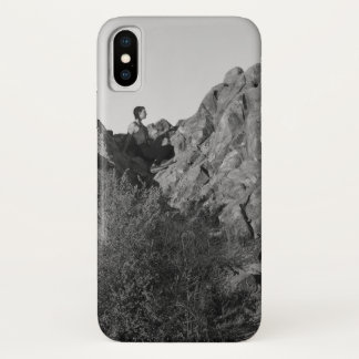 Coque iPhone X Randonneur de parc de Franklin reposant BW